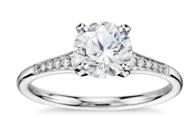 blue nile carat graduated milgrain diamond engagement ring