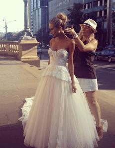 vestido novia corsé y falda tul
