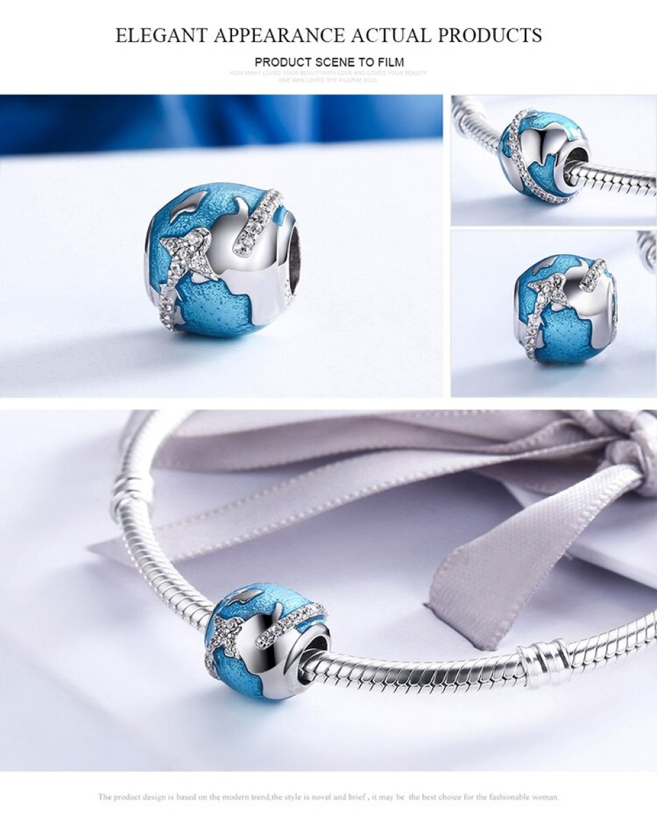 Sterling Silver Travelling Around The World, Blue Ocean Beads