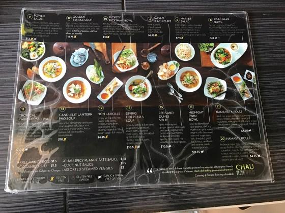 Chau VeggiEXPRESS menu