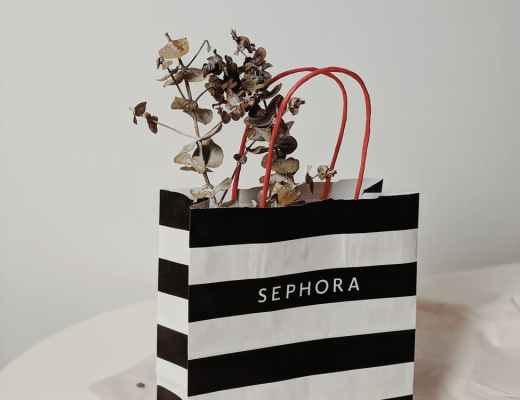 black and white stripe paper bag