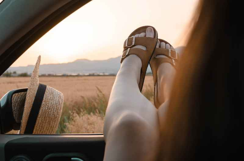 photo of person wearing sandals