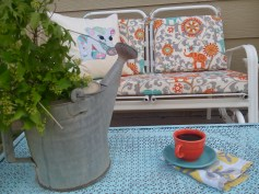 Porch update using color and fabrics 2016 www.lovingcolor.net