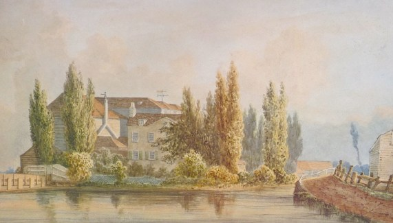 This watercolour is probably of the mills in the 1850s, although the Hackney council calendar that reproduced it said it shows Lea Bridge Mills