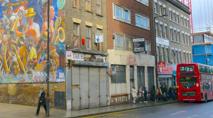 Farr's School of Dancing site Dalston Ln, London E8 3DF and the Dalston peace mural 161013 © david.altheer@gmail.com