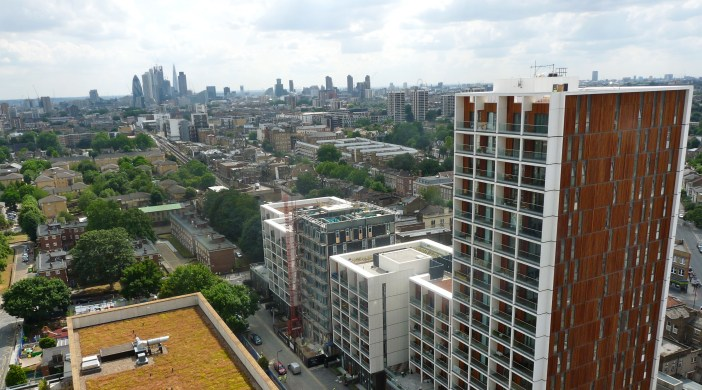 View south from Sledge Tower Dalston E8 towards City of London @ southern end of Kingsland Rd July 2013 © david.altheer@gmail.com