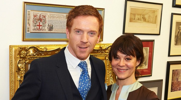 Damian Lewis with the Freedom of the City of London for outstanding achievements in acting and in the Guildhall with Helen McCrory, his actress wife. Supplied pic.