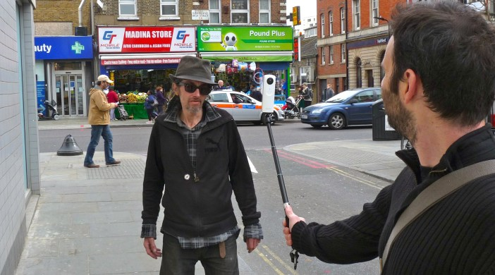 Peregrine McCafferty films busker Michael Gregovich in Dalston for promo video for Mikey's music CD 190314 © david.altheer@gmail.com