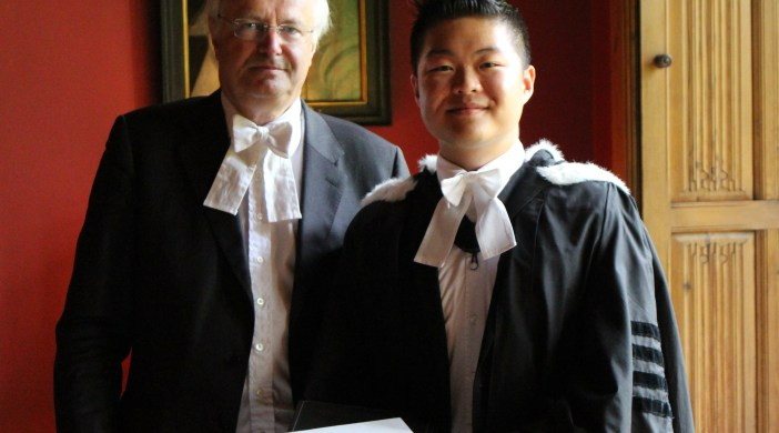 * Michael Ha, left, and the Master of St John's College. Photograph by permission of the Master and Fellows of St John's College, Cambridge