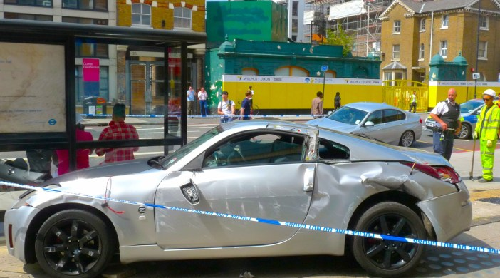 Crash at Tesco Kingsland Road Haggerston London 040714 @ 1140 © david.altheer@gmail.com