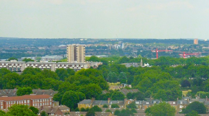 "Matalan tower and ""windmill"" (Andrew Waugh, arch.) . Blue top right is Hackney Downs Mossbourne Community Academy Dalston London E8 (dalston Ln July 2"