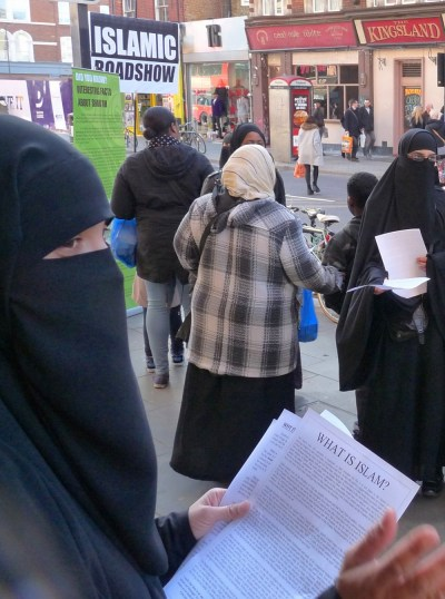 Islamic Roadshow outside Kingsland Shopping Centre Kingsland High St Dalston London E8 070315