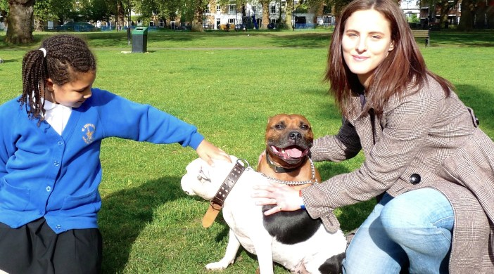 Tiffany SImcoe with bull terriers (and friend Summer) in London FIelds E8 070515 © DavidAltheer@gmail.com