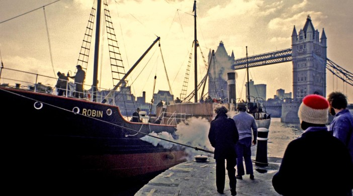 © Ambrose Greenway SS Robin enters St Katharine's Docks, Wapping, London (1980s?)