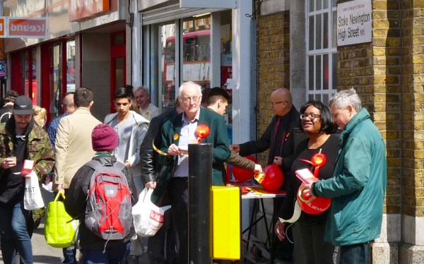 Abbott15: Hackney N sitting candidate Diane Abbott campaigns for Labour Stoke Newington High St 180415 © DavidAltheer@gmail.com
