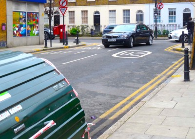 Cycdanger: junction gap narrowed, removing cyclist and pedestrian space, Cecilia Rd Dalston Hackney E8 2EP: 210216 © DavidAltheer[at]gmail.com
