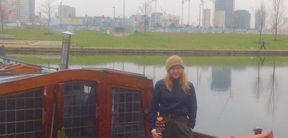 Ulli Mattsson on her Dutch sailing barge at Hackney Wick ton London E9 0316 david.altheer@gmail.com