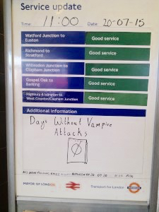 dkvamp15: sign posted at DK last year vampire story (Pic: G Gartside)