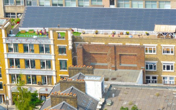 Cafe Oto, & Dalston roof park above Reeves building, Printhouse gallery and rooftop garden Ashwin St Dalston July 2013 © david.altheer