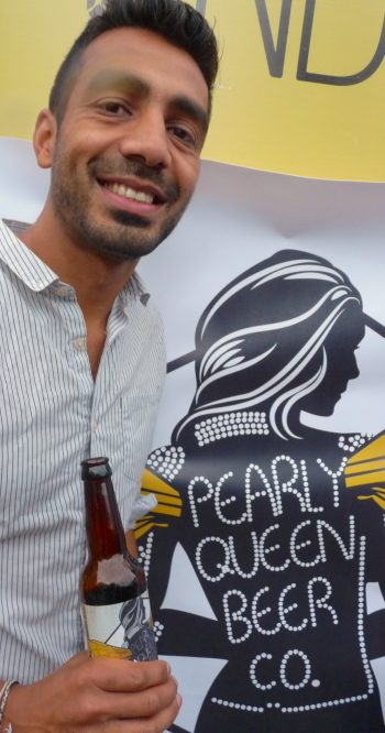 Meetal Patel shows Pearly Queen Beer Company's newly launched Honey Pale Ale @ Dalston London 20 Aug 2016 © david.altheer[ at ] gmail.com