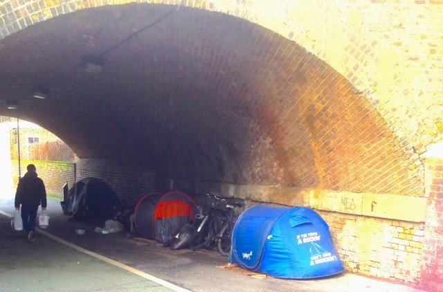 Homeless under an arch near Hackney Fashion Hub in London winter 2017 © David Altheer
