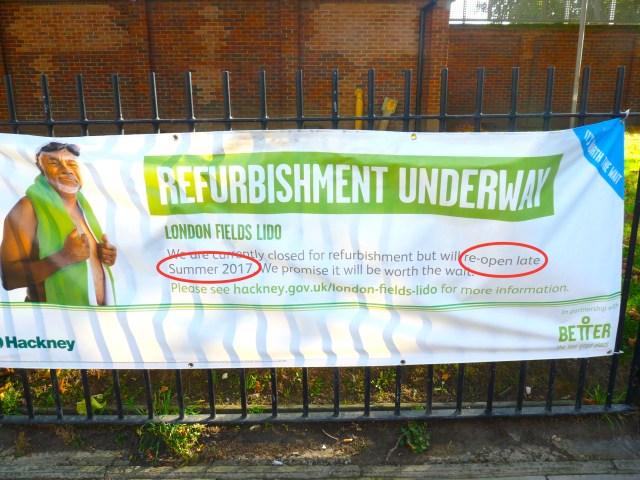 lido©DA031017: out-of-date ad @ #LondonFields Lido, pool in London Fields, London E8, as it awaits reopening after repairs © david,altheer@gmail,com 300917