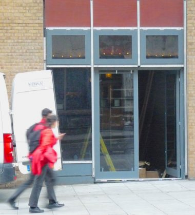 """Dalston Lane door finally inserted after building """"completed"""" in 2010 © david.altheert[at]gmail,com 081117"""