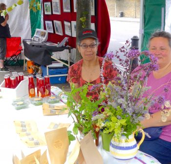 kingslandMkt©DA0718: Lisa Lue Affat, L, and Debbie Mitchener, in BWIltxon Estate TRA stall, on 1st day of Kingsland Market (ex The Waste) 280718 © David.Altheer@gmail.com