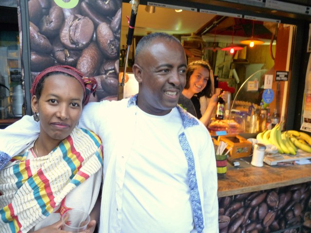 Markos©DA17: (Yared) Markos with wife Almaz @ his Kaffa shop in Gillett Sq 100917 Dalston #Hackney, NE Lon © david.altheer@gmail.com 151017