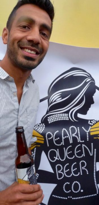Pearly©DA16: Queen BeerMeetal Patel shows Pearly Queen Beer Company's newly launched Honey Pale Ale @ Dalston London 20 Aug 2016 © david.altheer[ at ] gmail.com