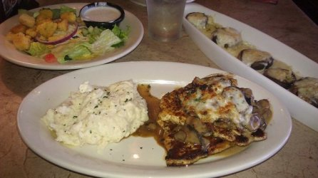White Grilled Chicken & Stuffed Portabella and Cheddar Stuffed Mushrooms at Longhorn Steakhouse