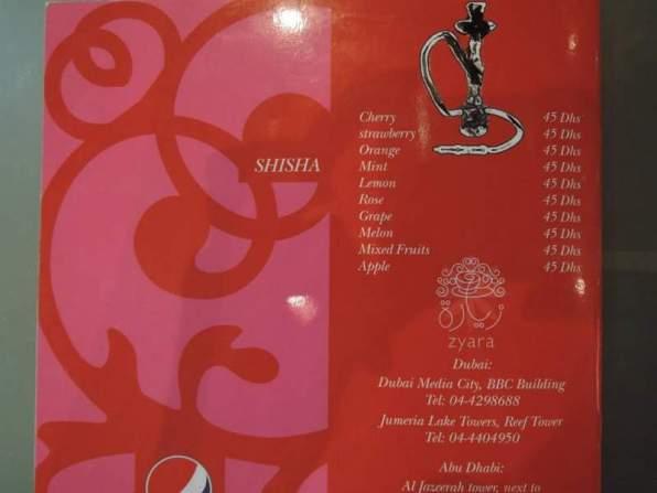 Zyara Cafe menu