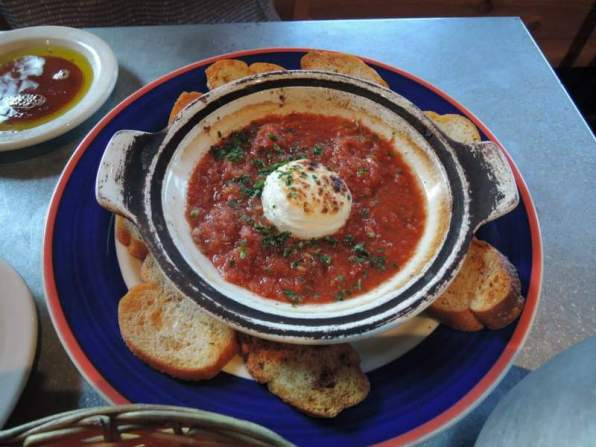 Salsa with garlic crostinis