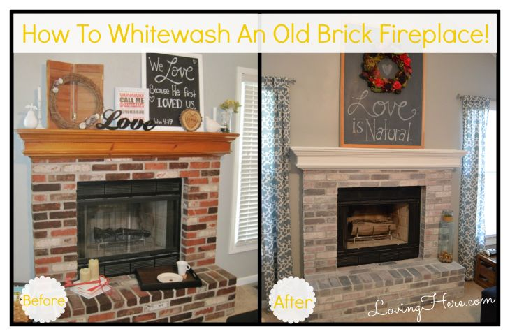 How to whitewash brick our fireplace makeover loving here photos before and after of iphone high resolution beforeafter