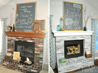How to Whitewash Brick - Our Fireplace Makeover - Loving Here
