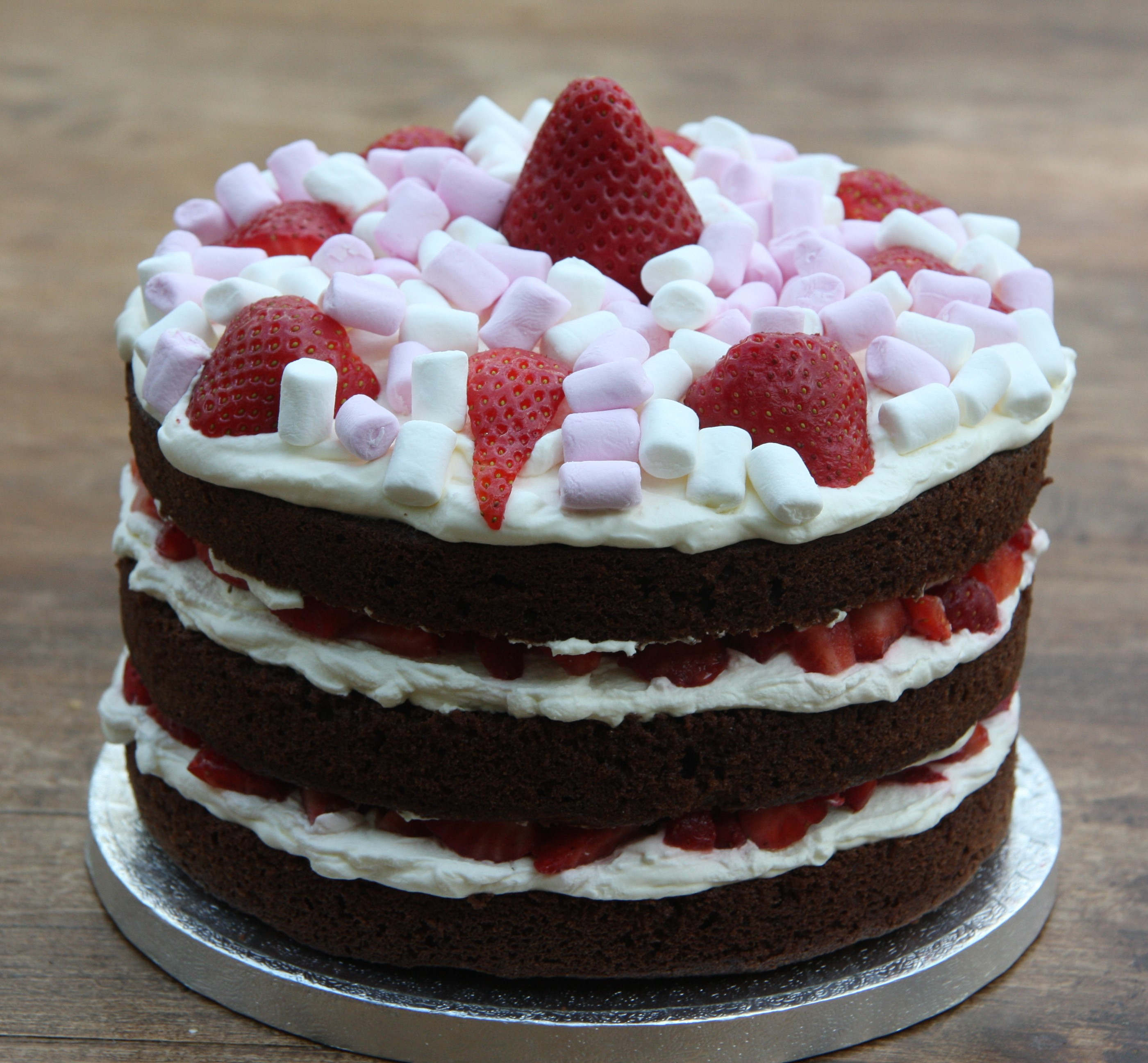 Chocolate Birthday Cake With Strawberries And Cream And