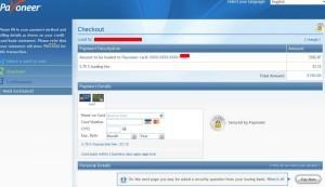Reload TopUp Balance Saldo Payoneer - Masukkan data kartu kredit