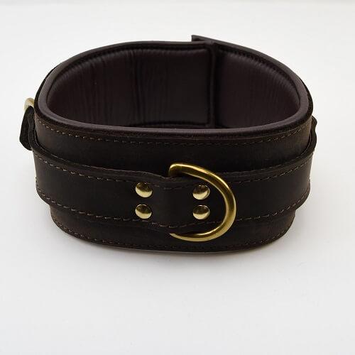 Bound Nubuck Leather Padded Collar