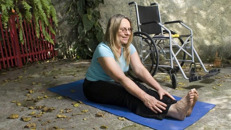 Woman doing yin yoga.