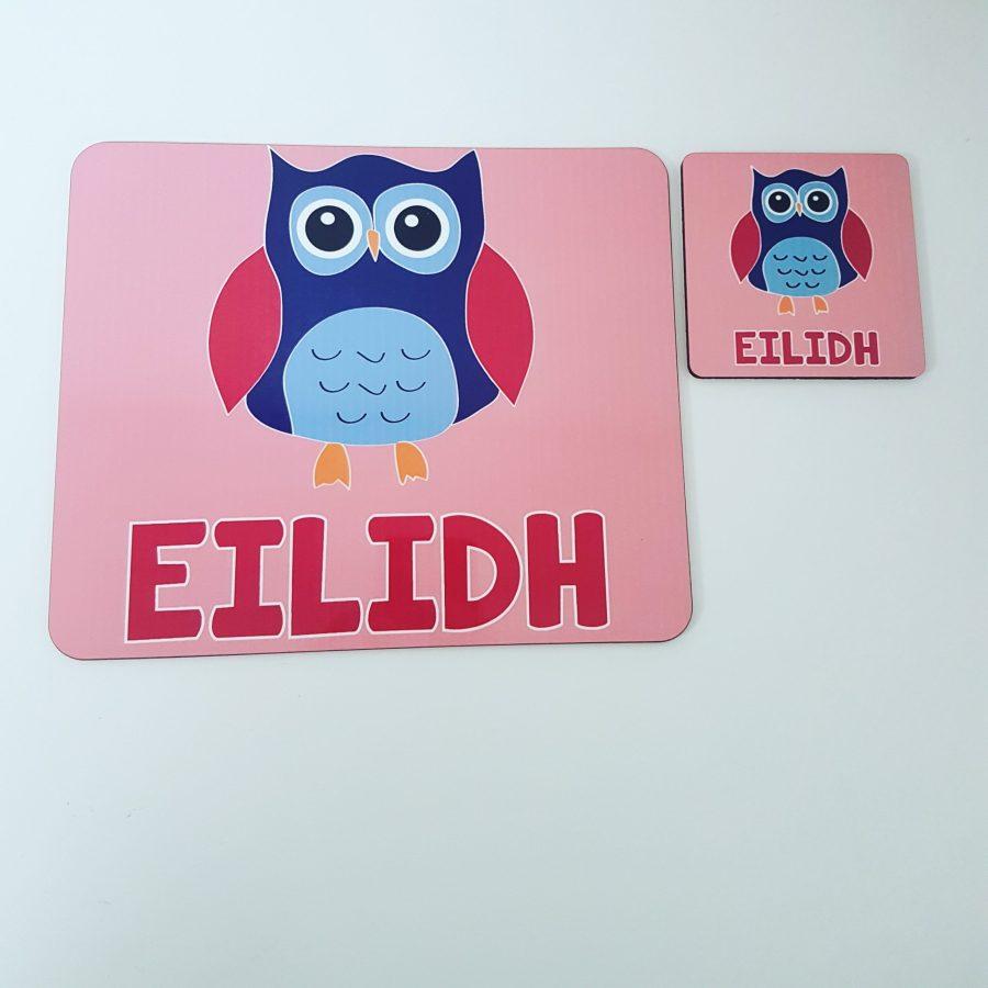 Girly pink owl placemat set