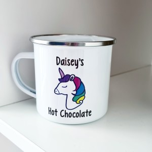 Enamel mug with unicorn design