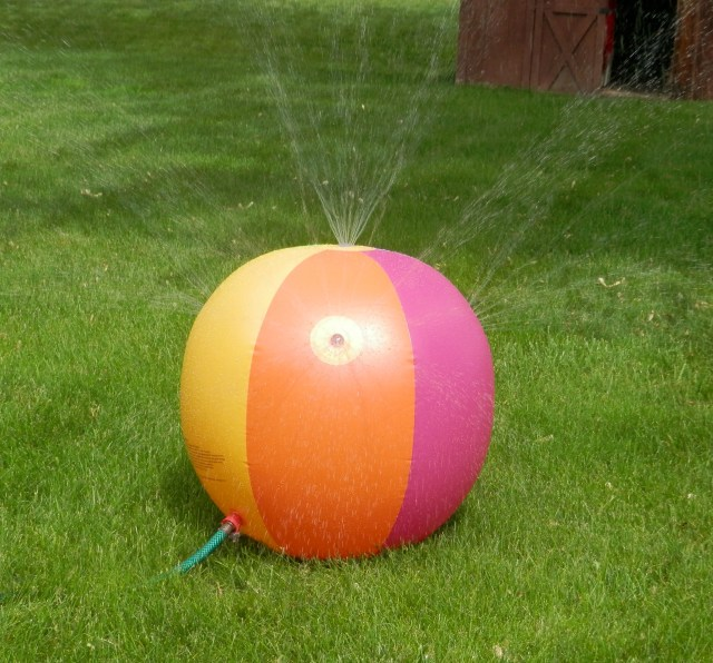 A beach ball sprinkler!  Our swimming pool!