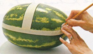 Carving a watermelon. Four easy steps.