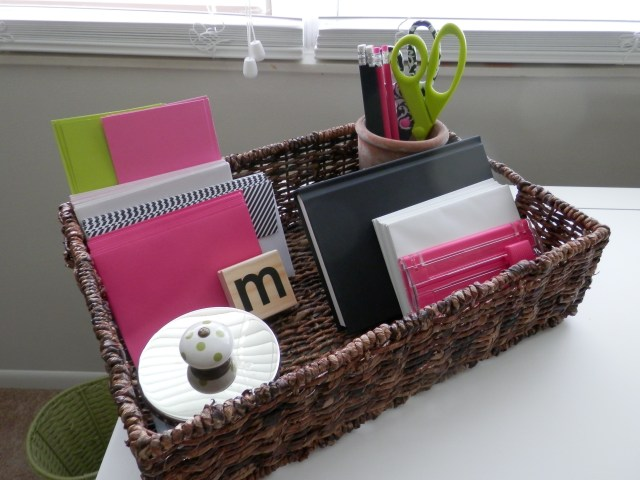 Simple basket tray to organize desk area.
