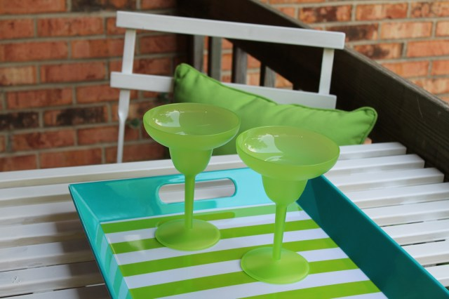 Bright green and blue tray and glasses.