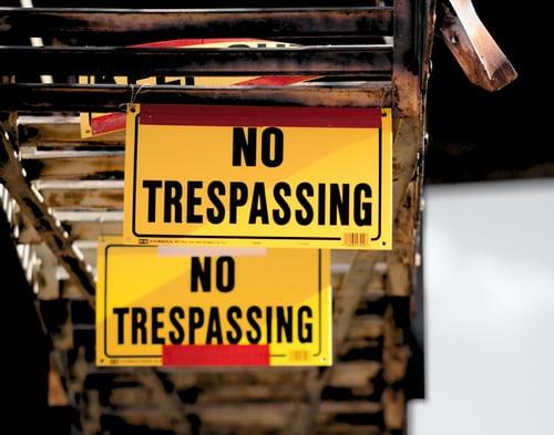 no trespassing signs indicating boundaries