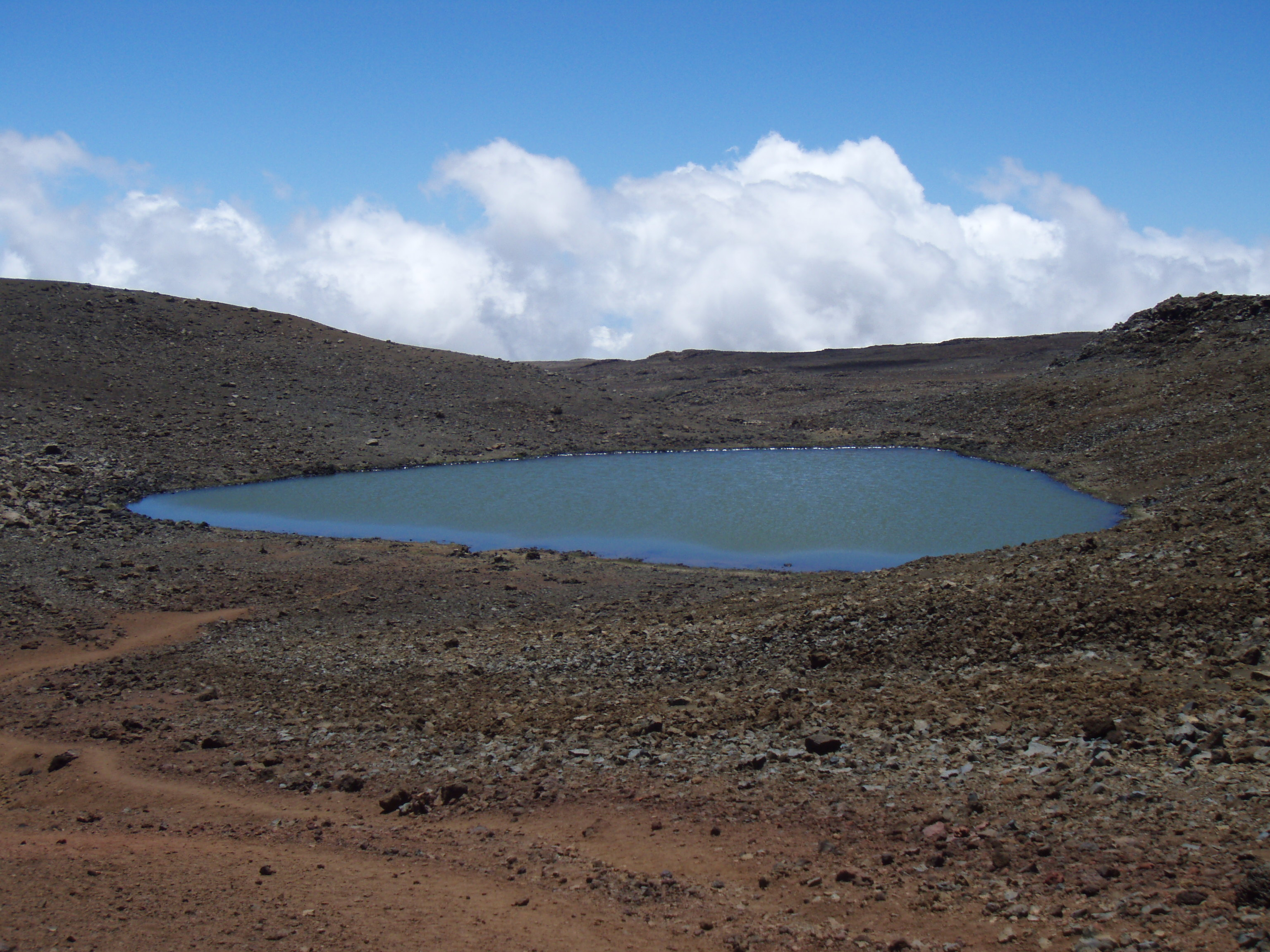 """Lake Wai'au--the Seventh Highest Lake in the US--Whose Name Means """"Swirling Water"""", Perches Near the Summit of Mauna Kea On The Big Island of Hawaii: Photo by Donnie MacGowan"""
