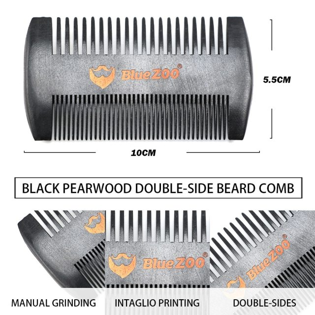 Bluezoo black spray paint pear wood double beard comb