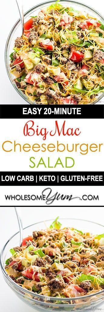 BIG MAC SALAD – CHEESEBURGER SALAD RECIPE (LOW CARB, GLUTEN-FREE)