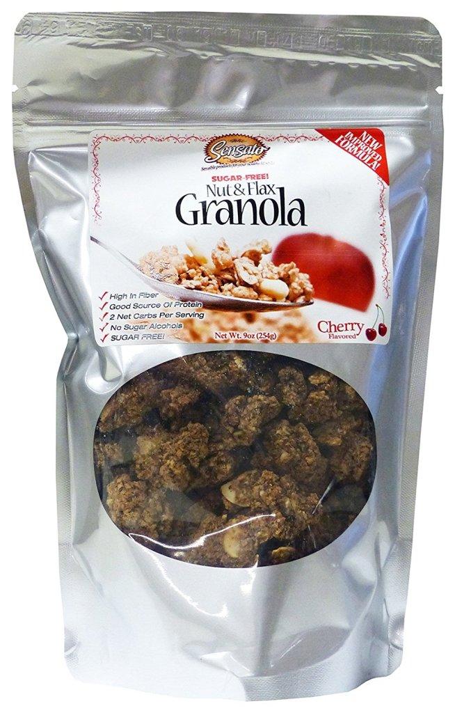 81MkVOr1hzL. SL1500  - Cherry Sugar-Free Nut and Flax Granola, 9 oz. bag by Sensato Foods